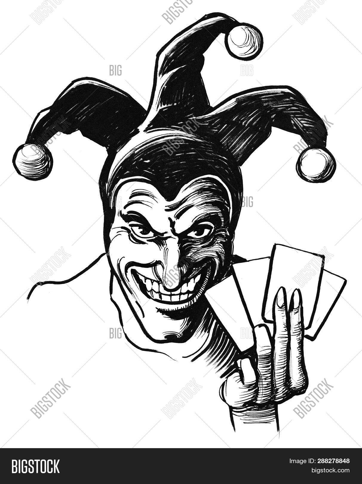 Joker with playing cards ink black and white drawing