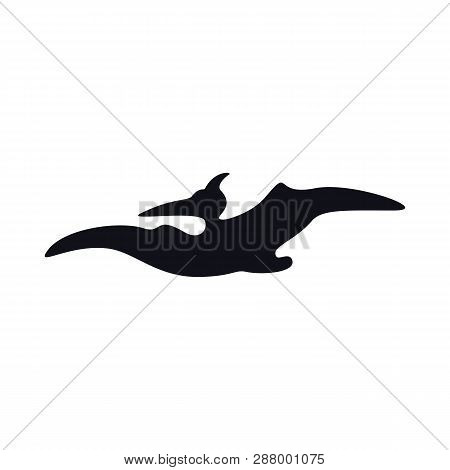 Pterosaurs Black Silhouette On White. Simple Dinosaurs Image