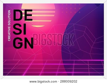 Vector Creative Bright Pink And Purple Retro Illustration With Neon Grid, Shape, Fog. Business Abstr