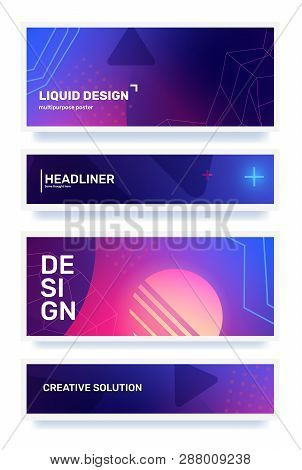Vector Set Of Creative Color Abstract Horizontal Retro Illustration In Frame With Shape, Neon, Star,