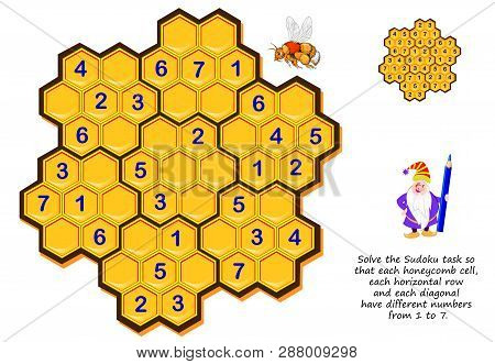 Logic Puzzle Game For Children And Adults. Solve Sudoku Task So That Each Honeycomb Cell, Each Horiz