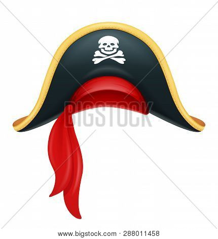 Pirate hat. Corsair headgear. Carnival costume. Caribbean filibuster. Isolated white background. Eps10 vector illustration. poster