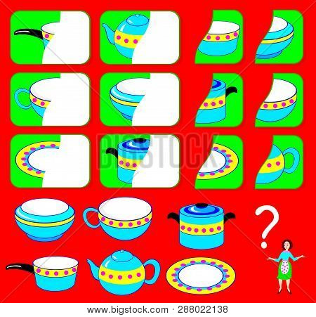 Logic Exercise For Children. Need To Find The Second Parts Of Dishes And Draw Them In Relevant Place