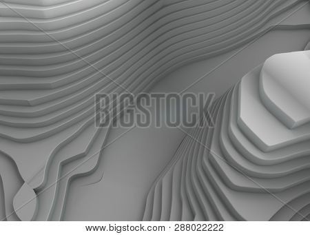 Abstract Architecture Background. White Circular Mountains. 3d Rendering - Illustration