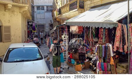 Victoria,gozo,malta- September 2018 - Crowded Small Alleyways In The Town Square Of Victoria, Gozo,