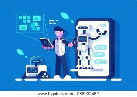 Developer Making Presentation Of Chat Bot Vector