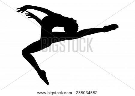 gymnast girl jump with tilt torso back in rhythmic gymnastics poster
