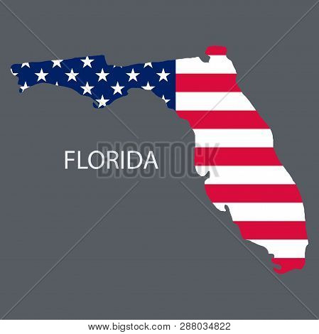Florida State Of America With Map. Flag Print On Map Of Usa For Geographic Themes. Map Of Florida St