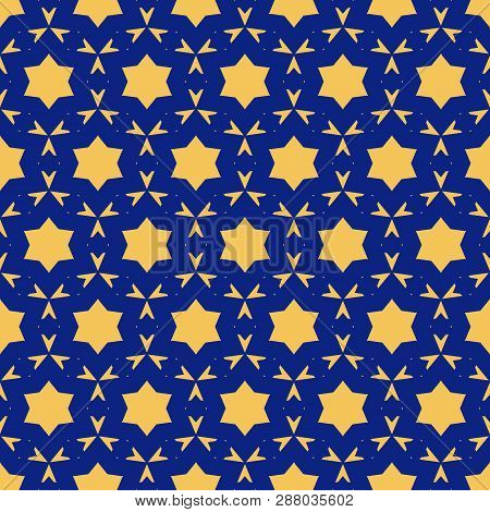 Vector Ornamental Seamless Pattern. Simple Deep Blue And Yellow Texture With Stars, Floral Shapes, S