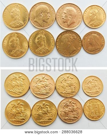 Six Full Sovereign And Two Half Sovereign Coins,dated From 1885 Through 1913.