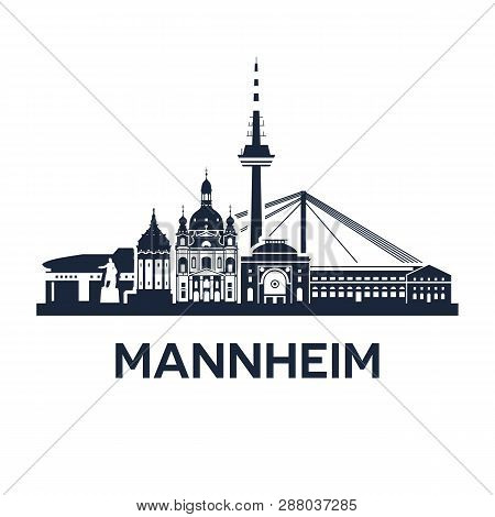 Skyline Emblem Of Mannheim, City In The Southwestern Part Of Germany