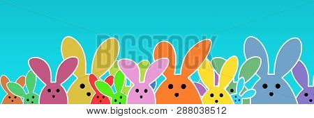 Easter Bunnies As Illustration On Turquoise Colored Background With Soft Yellow Glow. Playful Easter