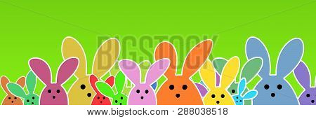 Easter Bunnies As Illustration On Green Colored Background With Soft Yellow Glow. Playful Easter Bun