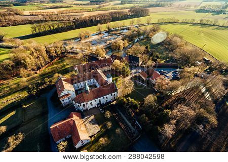 Aerial View On The Monastery Of Kloster Vinnenberg, A Popular Landmark And Tourist Site In Warendorf
