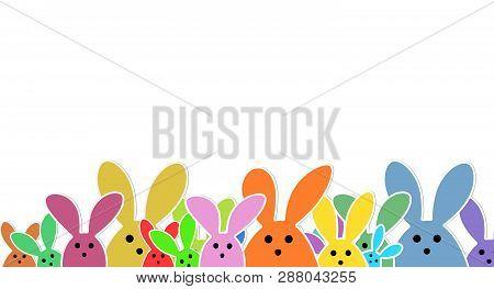 Easter Bunnies As Illustration On White Background With. Playful Easter Bunnies Background For The E