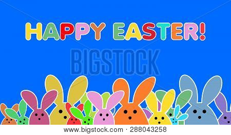Easter Bunnies As Illustration On Blue Colored Background. Playful Easter Bunny Background For The E