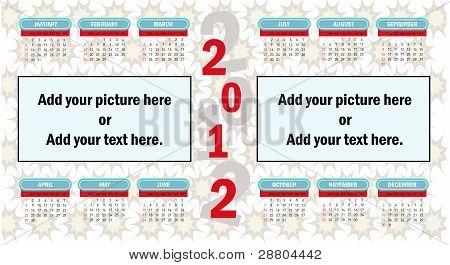 2012 vector calendar.