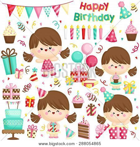 A Vector Set Of Cute Little Girl Celebrating Her Birthday With Lots Of Gifts And Cakes