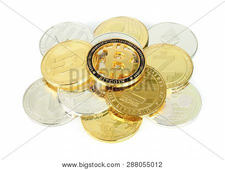 Cryptocurrency Coins On A White Background Close-up