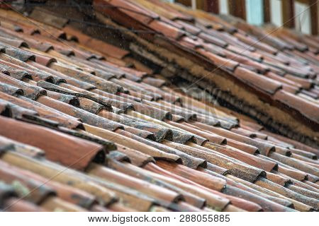 Old Clay Tile Roofs Background From Cusco, Peru