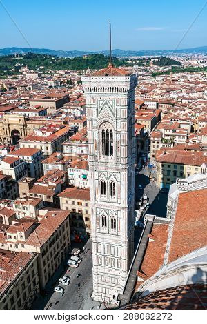 Aerial View Of Giottos Campanile From The Top Of The Cathedral - Florence, Tuscany, Italy. Giotto To