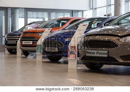 Russia, Izhevsk - January 27, 2019: Showroom Ford. New Cars In Dealer Showroom. Modern Transportatio