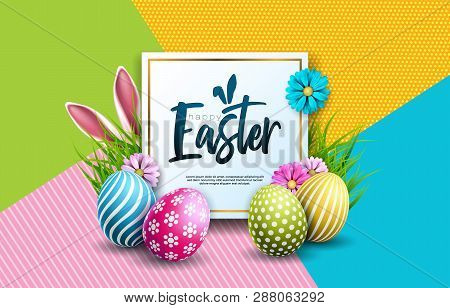 Vector Illustration Of Happy Easter Holiday With Painted Egg, Rabbit Ears And Spring Flower On Color
