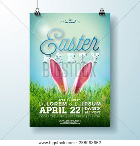 Vector Easter Party Flyer Illustration With Rabbit Ears And Green Grass On Blue Sky Background. Spri