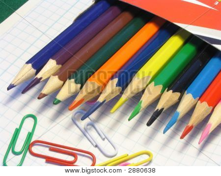 Color Pencils And Writing Paper Clips