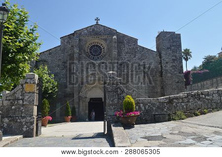 Main Facade Of The Church Of Santa Maria In Bayonne. Nature, Architecture, History, Travel. August 1