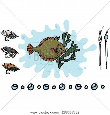 Cute flounder fishing gear cartoon vector illustration motif set. Hand drawn fish poster