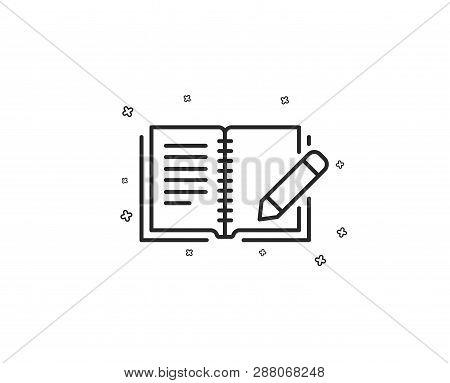 Feedback Line Icon. Book With Pencil Sign. Copywriting Symbol. Geometric Shapes. Random Cross Elemen