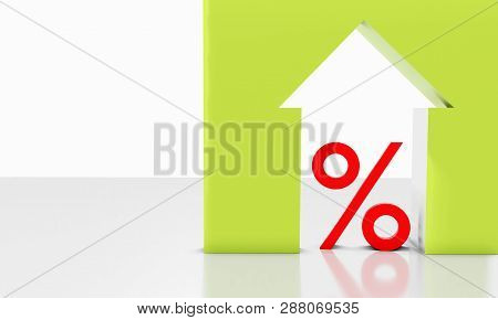 3d The Percentage And Icon Symbol Sign At Home On The Table With A White Background
