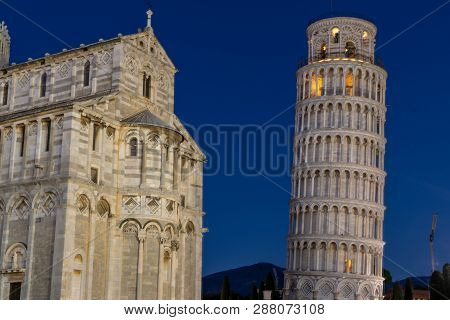 Pisa,tuscany/italy 23 February 2019 :nightscape Of The Cathedral Of Pisa And The Legendary Leaning T