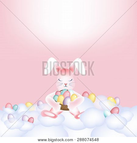 Easter Bunny With A Basket Of Colorful Eggs Napping