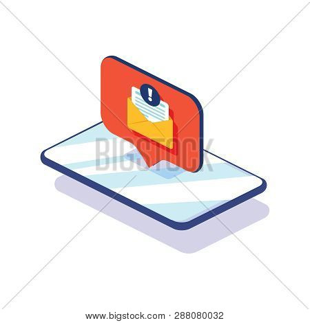 New Message On The Smartphone Screen. Vector Illustration. New Chat Messages Notification On Phone F