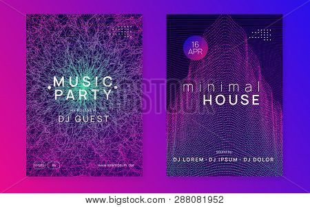 Trance party. Dynamic gradient shape and line. Curvy concert magazine set. Neon trance party flyer. Electro dance music. Electronic sound. Club dj poster. Techno fest event. poster