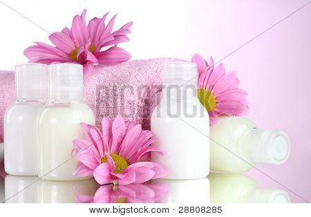 Hotel amenities kit on pink background poster