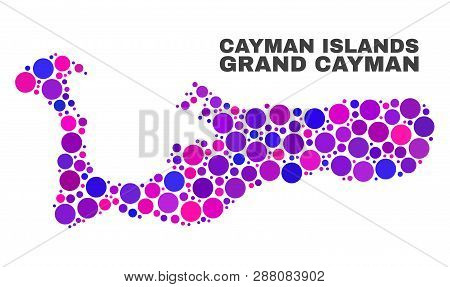 Mosaic Grand Cayman Island Map Isolated On A White Background. Vector Geographic Abstraction In Pink