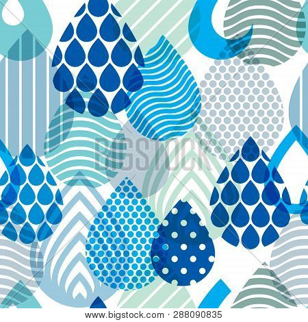 Falling Rain Drops Water Vector Seamless Pattern, Blue Colored Repeat Endless Background, Dew Water
