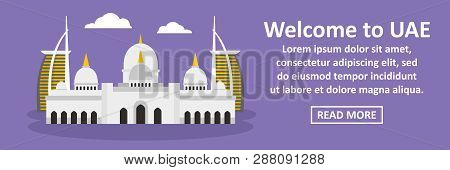 Welcome To Uae Banner Horizontal Concept. Flat Illustration Of Welcome To Uae Banner Horizontal Conc