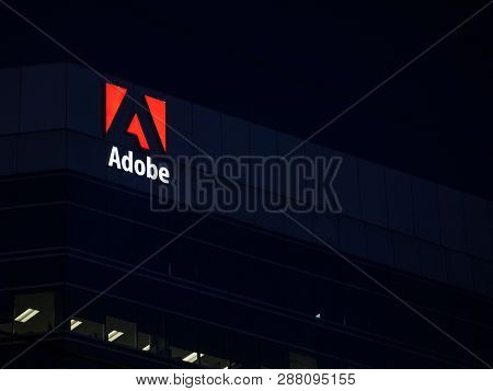 Ottawa, Canada - November 12, 2018: Adobe Logo, In Front Of One Of Their Main Office For Ottawa, Ont