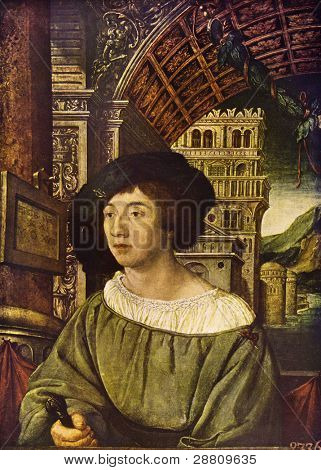 """Ambrosius Holbein (1497 - 1543) """"Portrait of a young man"""". Reproduction from illustrated Encyclopedia ?«Art galleries of Europe?'?», Partnership ?«M. O. Wolf?», St. Petersburg - Moscow, Russia, 1901 poster"""