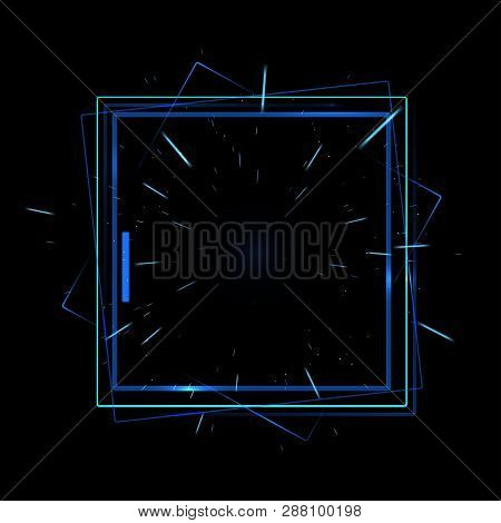 Vector Isolated Illustration Of Neon Screen.  Laser Light Futuristic Announcement Banner. Border Des