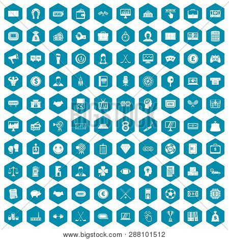 100 Sweepstakes Icons Set In Sapphirine Hexagon Isolated Illustration