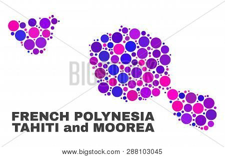 Mosaic Tahiti And Moorea Islands Map Isolated On A White Background. Vector Geographic Abstraction I