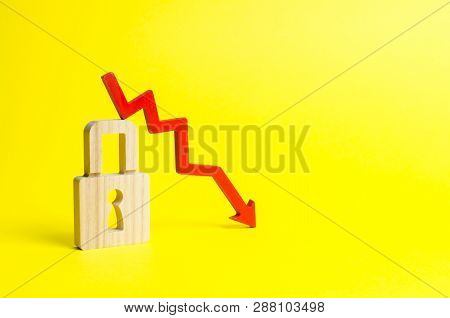 Red Arrow Down And Padlock On Yellow Background. Conceptual Decline In The Level And Quality Of Prot