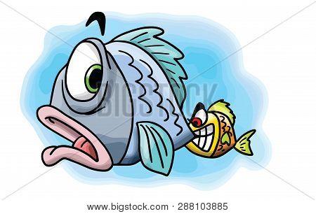 Naughty Little Cartoon Fish Biting His Mothers Tail Vector Illustration