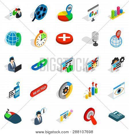 Information bureau icons set. Isometric set of 25 information bureau icons for web isolated on white background poster