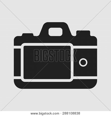 Simple Flat Monochrome Camera Icon. Vector Illustration.